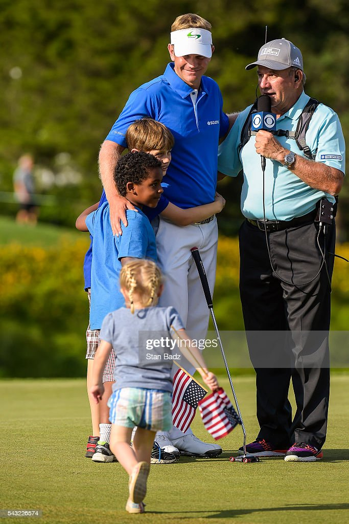 <a gi-track='captionPersonalityLinkClicked' href=/galleries/search?phrase=Billy+Hurley+III&family=editorial&specificpeople=805381 ng-click='$event.stopPropagation()'>Billy Hurley III</a> celebrates his three stroke victory with his children on the 18th hole green during the final round of the Quicken Loans National at Congressional Country Club (Blue) on June 26, 2016 in Bethesda, Maryland.