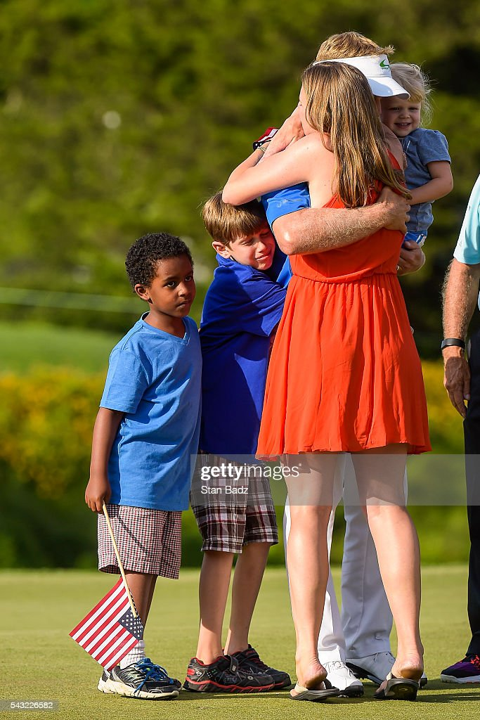 <a gi-track='captionPersonalityLinkClicked' href=/galleries/search?phrase=Billy+Hurley+III&family=editorial&specificpeople=805381 ng-click='$event.stopPropagation()'>Billy Hurley III</a> celebrates his three stroke victory with his wife and children on the 18th hole green during the final round of the Quicken Loans National at Congressional Country Club (Blue) on June 26, 2016 in Bethesda, Maryland.
