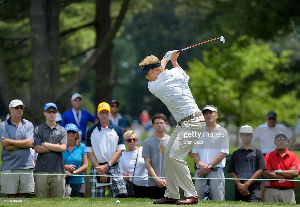 <a gi-track='captionPersonalityLinkClicked' href=/galleries/search?phrase=Billy+Hurley+III&family=editorial&specificpeople=805381 ng-click='$event.stopPropagation()'>Billy Hurley III</a> hits a tee shot on the second hole during the second round of the Quicken Loans National at Congressional Country Club (Blue) on June 24, 2016 in Bethesda, Maryland.