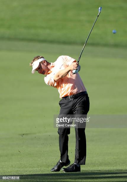Billy Hurley III of the United States plays his second shot on the par 4 eighth hole during the first round of the 2017 Arnold Palmer Invitational...