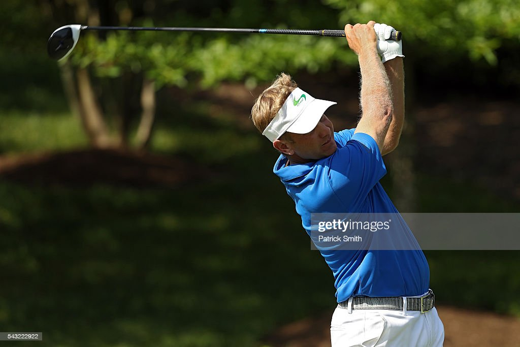 <a gi-track='captionPersonalityLinkClicked' href=/galleries/search?phrase=Billy+Hurley+III&family=editorial&specificpeople=805381 ng-click='$event.stopPropagation()'>Billy Hurley III</a> plays a shot from the 11th tee during the final round of the Quicken Loans National at Congressional Country Club on June 26, 2016 in Bethesda, Maryland.