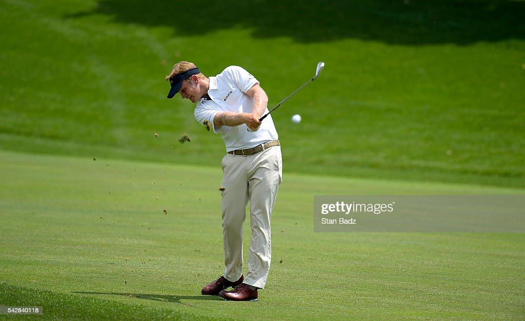 <a gi-track='captionPersonalityLinkClicked' href=/galleries/search?phrase=Billy+Hurley+III&family=editorial&specificpeople=805381 ng-click='$event.stopPropagation()'>Billy Hurley III</a> plays a shot on the third fairway during the second round of the Quicken Loans National at Congressional Country Club (Blue) on June 24, 2016 in Bethesda, Maryland.