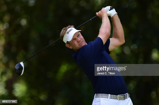 Billy Hurley III plays his tee shot on the fifth hole during the final round of the 2017 RBC Heritage at Harbour Town Golf Links on April 16 2017 in...