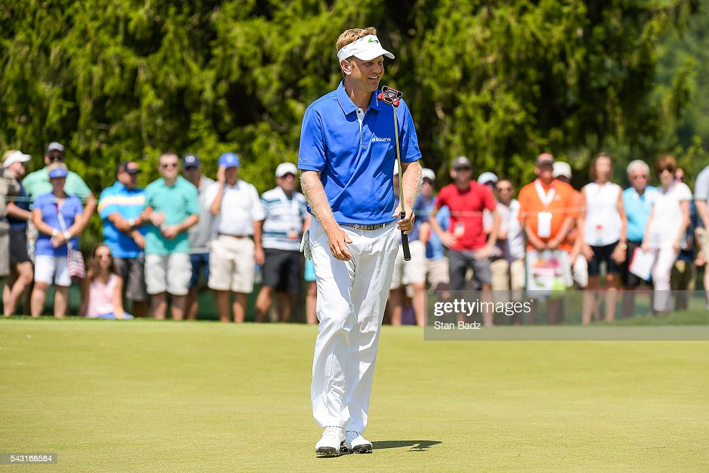 <a gi-track='captionPersonalityLinkClicked' href=/galleries/search?phrase=Billy+Hurley+III&family=editorial&specificpeople=805381 ng-click='$event.stopPropagation()'>Billy Hurley III</a> reacts to missing a birdie putt on the third hole green during the final round of the Quicken Loans National at Congressional Country Club (Blue) on June 26, 2016 in Bethesda, Maryland.