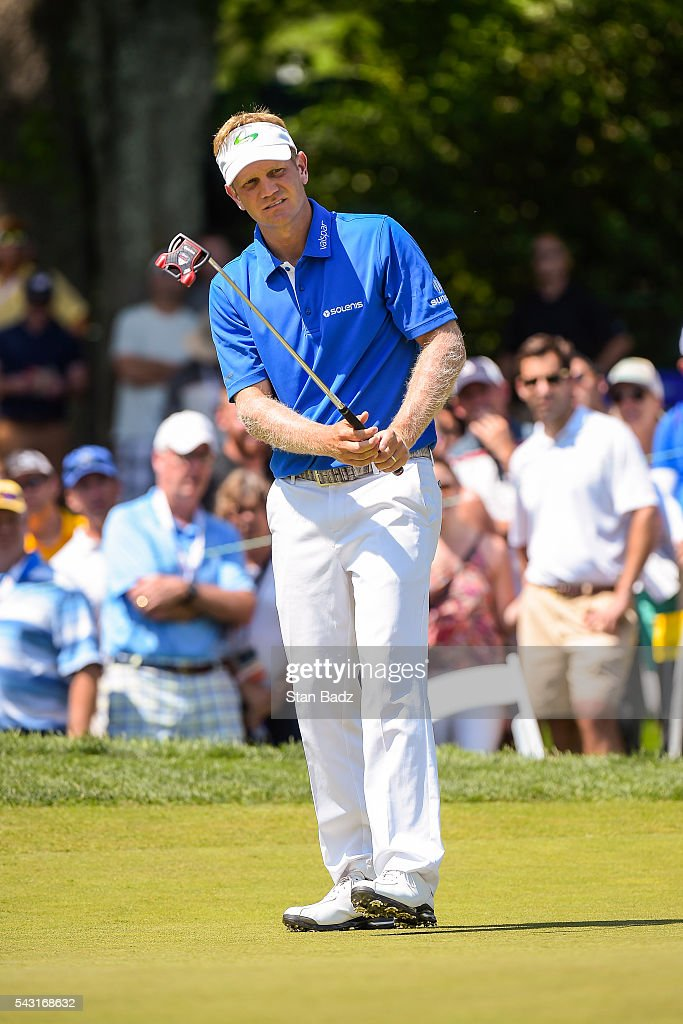 <a gi-track='captionPersonalityLinkClicked' href=/galleries/search?phrase=Billy+Hurley+III&family=editorial&specificpeople=805381 ng-click='$event.stopPropagation()'>Billy Hurley III</a> reacts to missing his birdie putt on the fourth hole green during the final round of the Quicken Loans National at Congressional Country Club (Blue) on June 26, 2016 in Bethesda, Maryland.