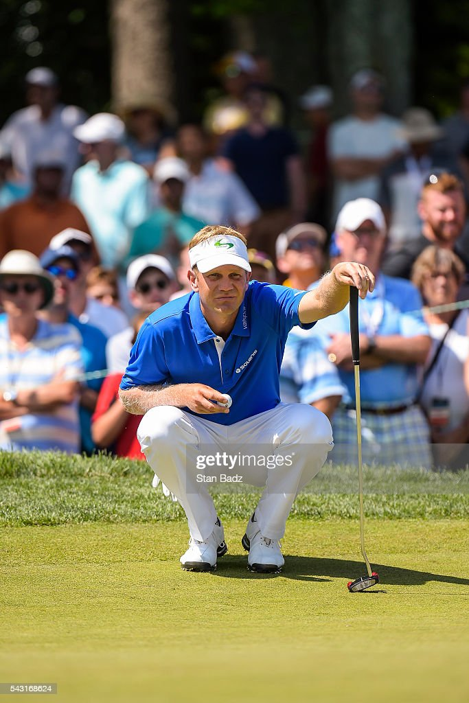 <a gi-track='captionPersonalityLinkClicked' href=/galleries/search?phrase=Billy+Hurley+III&family=editorial&specificpeople=805381 ng-click='$event.stopPropagation()'>Billy Hurley III</a> reads his putt on the fourth hole green during the final round of the Quicken Loans National at Congressional Country Club (Blue) on June 26, 2016 in Bethesda, Maryland.