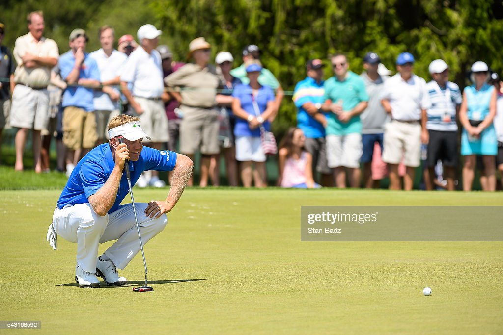 <a gi-track='captionPersonalityLinkClicked' href=/galleries/search?phrase=Billy+Hurley+III&family=editorial&specificpeople=805381 ng-click='$event.stopPropagation()'>Billy Hurley III</a> reads his putt on the third hole green during the final round of the Quicken Loans National at Congressional Country Club (Blue) on June 26, 2016 in Bethesda, Maryland.
