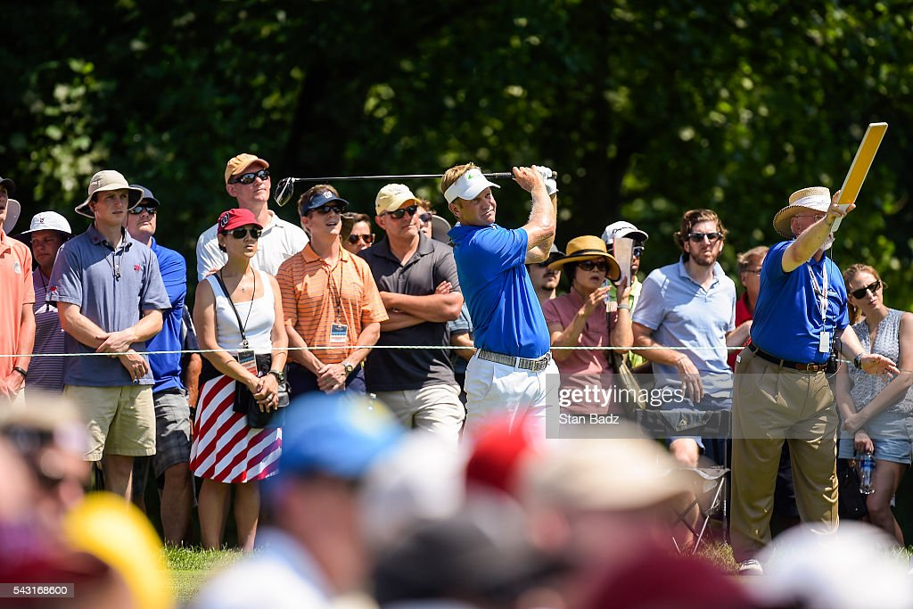 <a gi-track='captionPersonalityLinkClicked' href=/galleries/search?phrase=Billy+Hurley+III&family=editorial&specificpeople=805381 ng-click='$event.stopPropagation()'>Billy Hurley III</a> tees off on the fourth hole as fans watch during the final round of the Quicken Loans National at Congressional Country Club (Blue) on June 26, 2016 in Bethesda, Maryland.