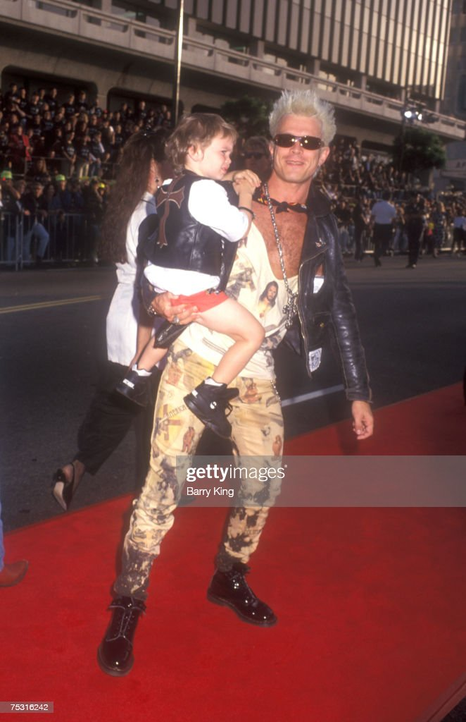 Billy Idol and his son at World Premiere of 'Batman Returns' at Mann's Chinese Theatre in Hollywood, California on June 16, 1992