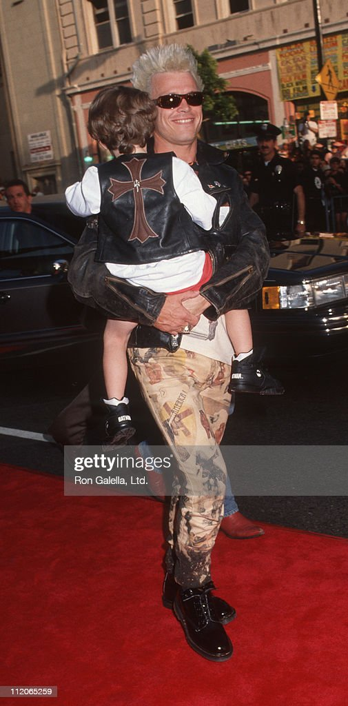 <a gi-track='captionPersonalityLinkClicked' href=/galleries/search?phrase=Billy+Idol&family=editorial&specificpeople=138578 ng-click='$event.stopPropagation()'>Billy Idol</a> and son Wolf during 'Batman Returns' Hollywood Premiere at Mann's Chinese Theatre in Hollywood, California, United States.