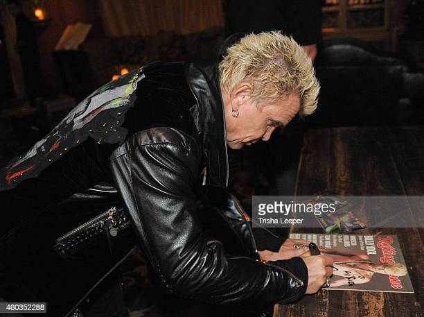 Billy Idol Backstage at the SoldOut Holiday Show At Rockbar Theater San Jose Ca at Rockbar Theater on December 11 2014 in San Jose California