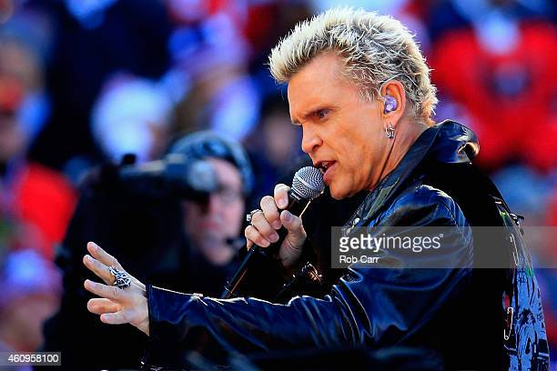 Billy Idol performs before the start of the 2015 NHL Winter Classic between the Washington Capitals and Chicago Blackhawks at Nationals Park on...