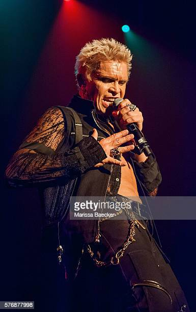 Billy Idol performs on stage during the Billy Idol Forever tour on July 14 2016 at Prospera Place in Kelowna British Columbia Canada