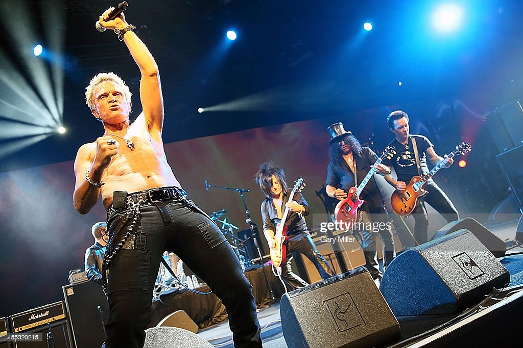 <a gi-track='captionPersonalityLinkClicked' href=/galleries/search?phrase=Billy+Idol&family=editorial&specificpeople=138578 ng-click='$event.stopPropagation()'>Billy Idol</a>, <a gi-track='captionPersonalityLinkClicked' href=/galleries/search?phrase=Steve+Stevens&family=editorial&specificpeople=225031 ng-click='$event.stopPropagation()'>Steve Stevens</a>, Slash and Billy Morrison perform with Camp Freddy during 'Dell World' at the Austin Convention Center on December 11, 2013 in Austin, Texas.