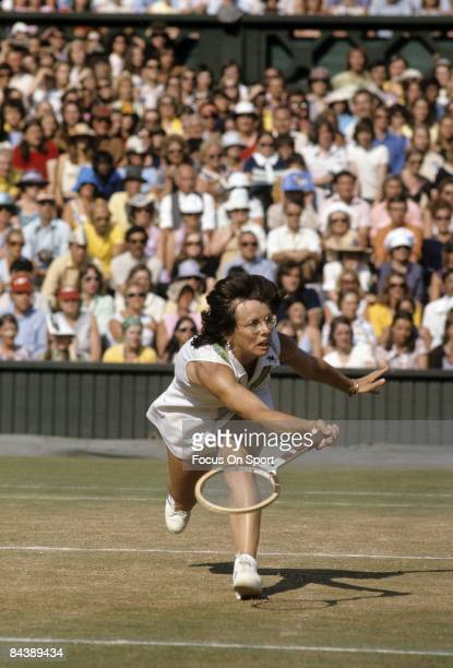 Billy Jean King of the USA hits a forehand return during championship play of the women's singles at the Wimbledon Lawn Tennis Championships July 7...
