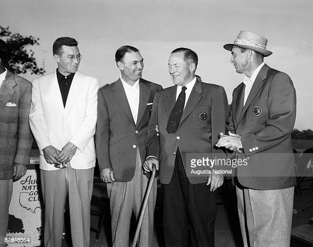 Billy Joe Patton Ben Hogan Bobby Jones and Sam Snead pose during the 1954 Masters Tournament at Augusta National Golf Club on April 1954 in Augusta...