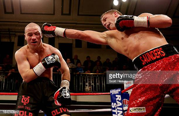 Billy Joe Saunders and Matthew Hall in action during their British and Commonwealth Middleweight Title Fight at York Hall on March 21 2013 in London...