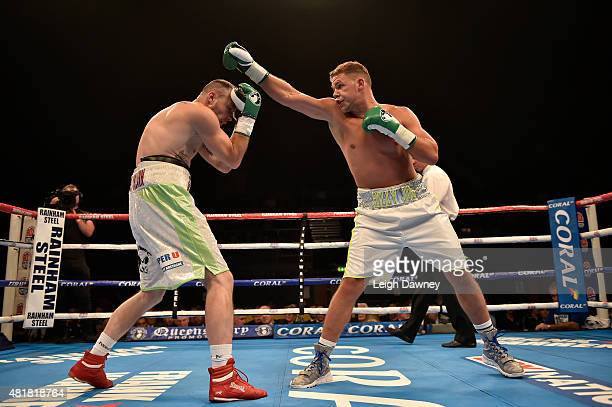 Billy Joe Saunders boxes Yoann Bloyer in a middleweight contest at Wembley Arena on July 24 2015 in London England