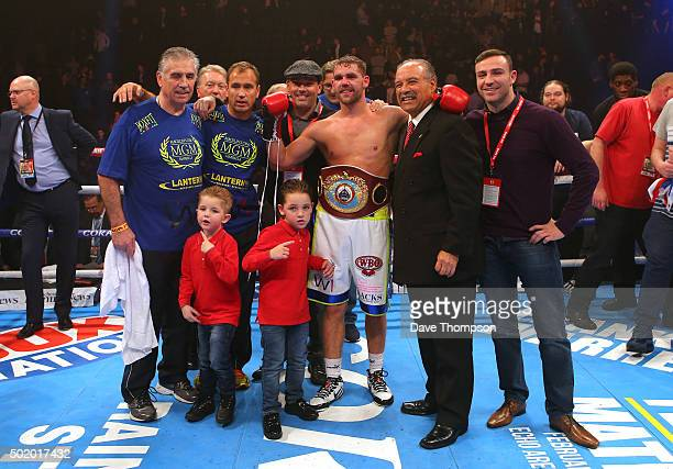 Billy Joe Saunders celebrates beating Andy Lee during their WBO World Middleweight title fight at the Manchester Arena on December 19 2015 in...