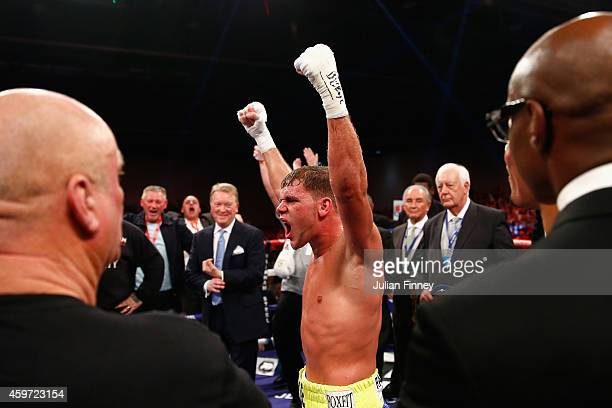 Billy Joe Saunders celebrates defeating Chris Eubank Junior in the british european and commonwealth middleweight championships during Boxing at...