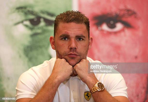 Billy Joe Saunders is pictured in front of a photograph of himself during an Andy Lee and Billy Joe Saunders Head to Head Press Conference at the...