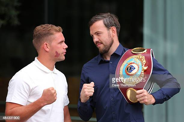 Billy Joe Saunders of England and Andy Lee of Ireland pose after attending a press conference at the Manchester Hilton Hotel on August 17 2015 in...