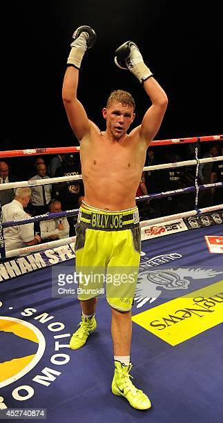 Billy Joe Saunders of Great Britain celebrates after stopping Emanuel Blandamura of Italy during the European Middleweight Championship fight at the...