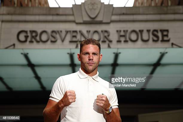 Billy Joe Saunders poses for a photo ahead of the the Andy Lee and Billy Joe Saunders Press Conference at the Grosvenor House Hotel on July 22 2015...