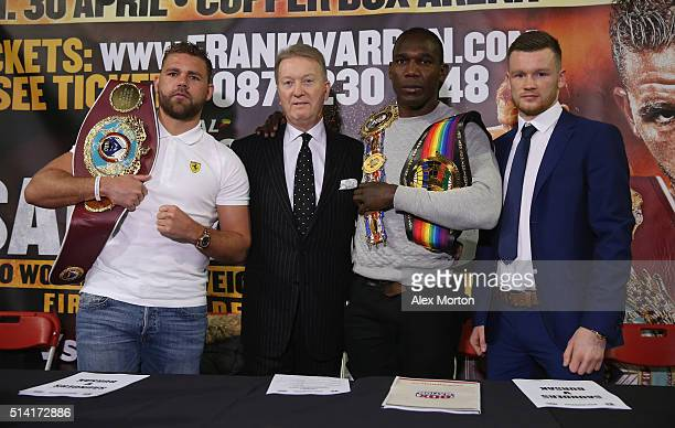 Billy Joe Saunders promoter Frank Warren Ovill McKenzie and James Tennyson during the press conference at The O2 Arena on March 7 2016 in London...