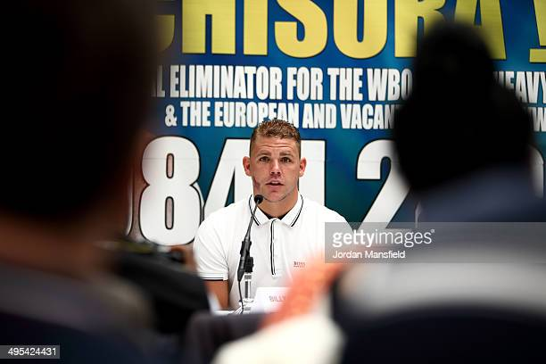Billy Joe Saunders talks during the press conference to discuss two separate upcoming fights featuring Billy Joe Saunders and Chris Eubank Jnr on...