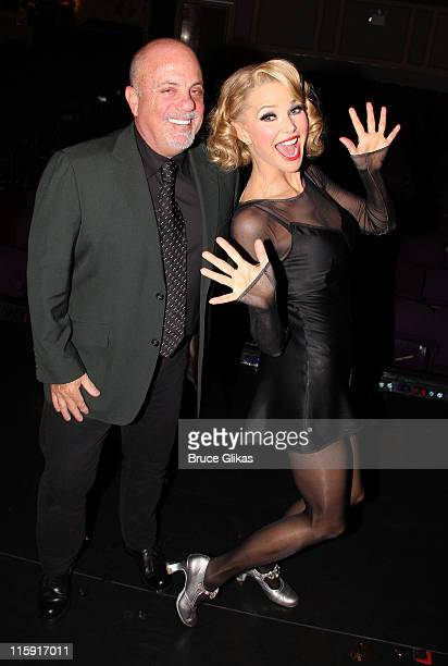 Billy Joel and Christie Brinkley pose backstage at the long running hit musical 'Chicago' on Broadway at The Ambassador Theater on June 11 2011 in...