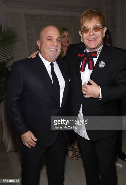Billy Joel and Elton John attend the Elton John AIDS Foundation Commemorates Its 25th Year And Honors Founder Sir Elton John During New York Fall...