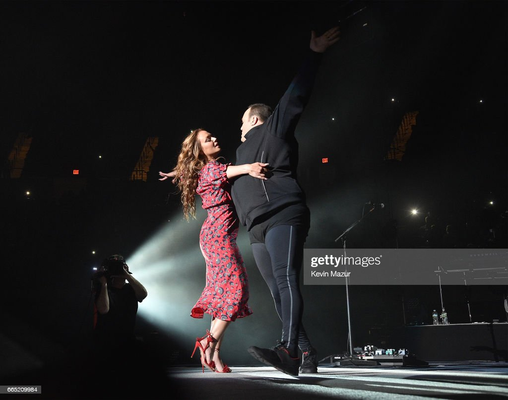 Billy Joel, Kevin James and Leah Remini perfom at the newly rennovated Nassau Coliseum, Long Island on April 5, 2017 in New York City.