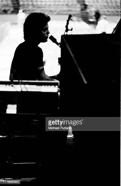 Billy Joel on stage during a soundcheck New York 7th December 1977