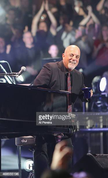 Billy Joel performs at Madison Square Garden on April 3 2015 in New York City