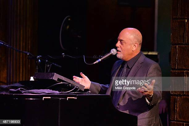 Billy Joel performs duing SiriusXM's Town Hall with Billy Joel hosted by Howard Stern at The Cutting Room on April 28 2014 in New York City