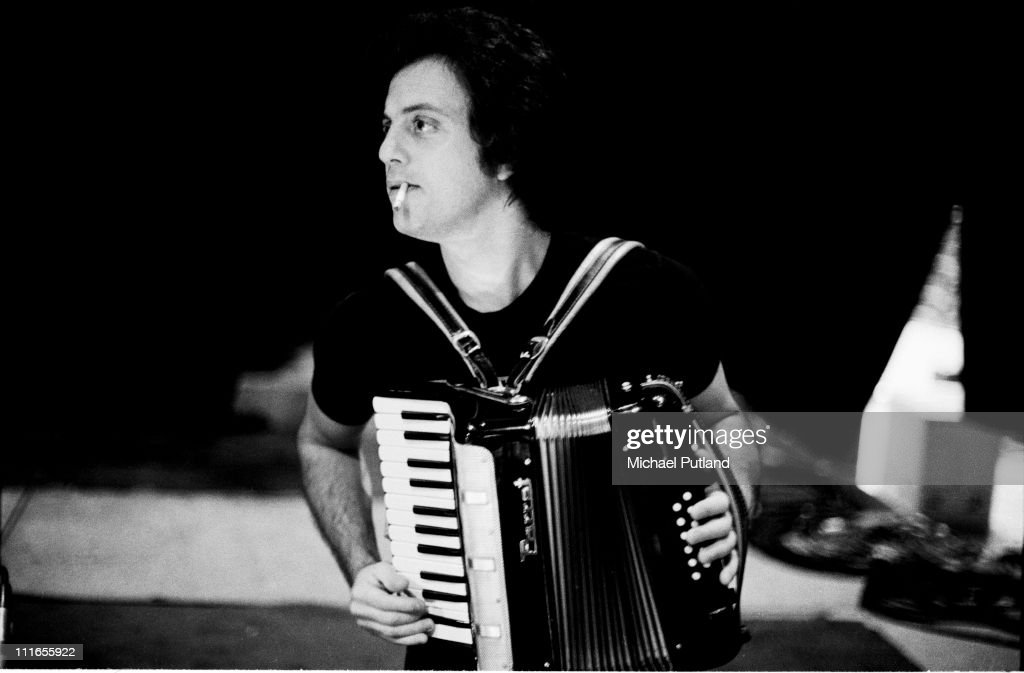 Billy Joel playing an accordion during a soundcheck New York 7th December 1977