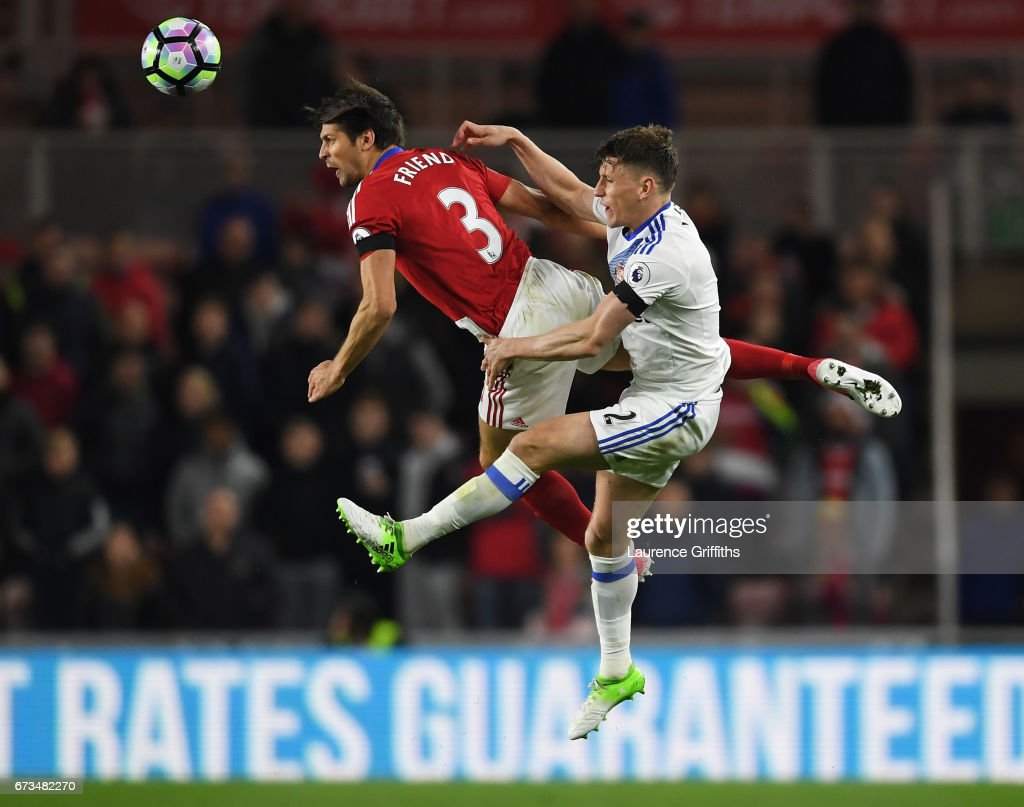 Billy Jones of Sunderland and George Friend of Middlesbrough clash during the Premier League match between Middlesbrough and Sunderland at the Riverside Stadium on April 26, 2017 in Middlesbrough, England.
