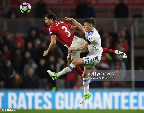 Billy Jones of Sunderland and George Friend of Middlesbrough clash during the Premier League match between Middlesbrough and Sunderland at the...