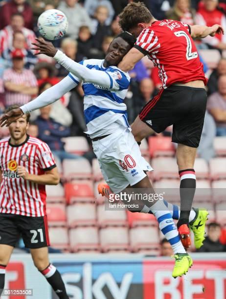 Billy Jones of Sunderland battles Idriss Sylla of QPR during the Sky Bet Championship match between Sunderland and Queens Park Rangers at Stadium of...