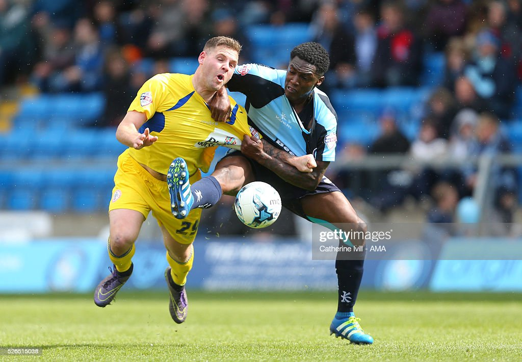 Billy Kee of Accrington Stanley and Anthony Stewart of Wycombe Wanderers during the Sky Bet League Two match between Wycombe Wanderers and Accrington Stanley at Adams Park on April 30, 2016 in High Wycombe, England.