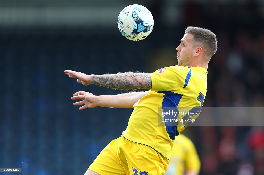 Billy Kee of Accrington Stanley during the Sky Bet League Two match between Wycombe Wanderers and Accrington Stanley at Adams Park on April 30, 2016 in High Wycombe, England.