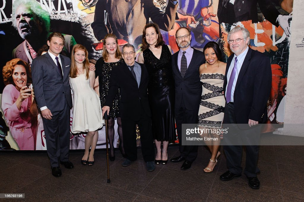 Billy Magnussen, Genevieve Angelson, Kristine Nielsen, Nicholas Martin, Sigourney Weaver, David Hyde Pierce, Shalita Grant and Christopher Durang attend the opening night of 'Vanya And Sonia And Masha And Spike' at Mitzi E. Newhouse Theater on November 12, 2012 in New York City.