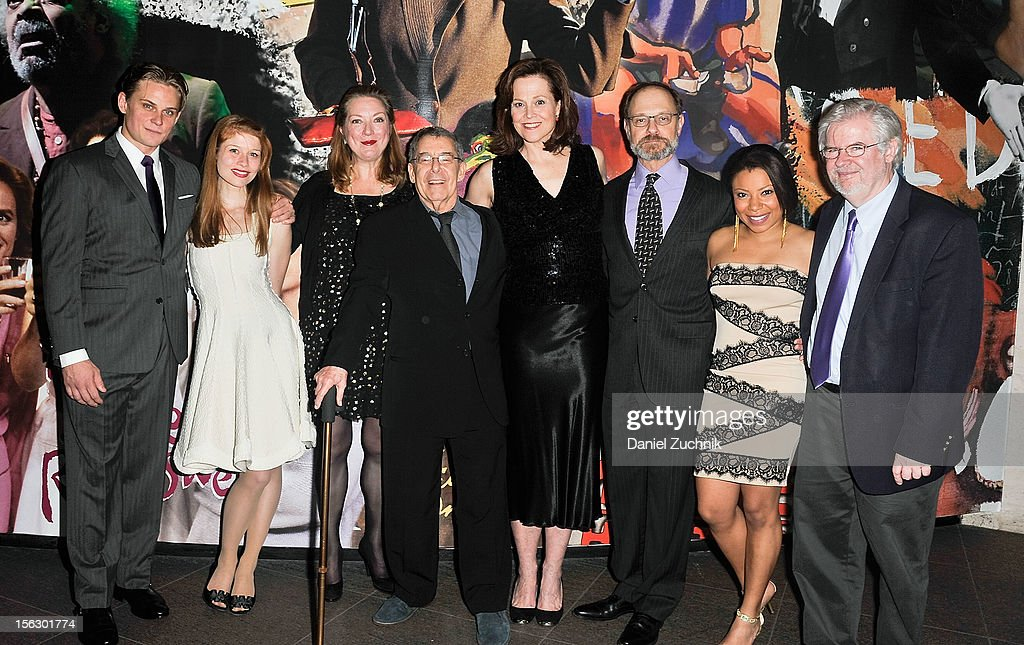 Billy Magnussen, Genevieve Angelson, Kristine Nielsen, Nicholas Martin, Sigourney Weaver, David Hyde Pierce, Shalita Grant and Christopher Durang attend the 'Vanya and Sonia and Masha and Spike,' press nightat Mitzi E. Newhouse Theater on November 12, 2012 in New York City.