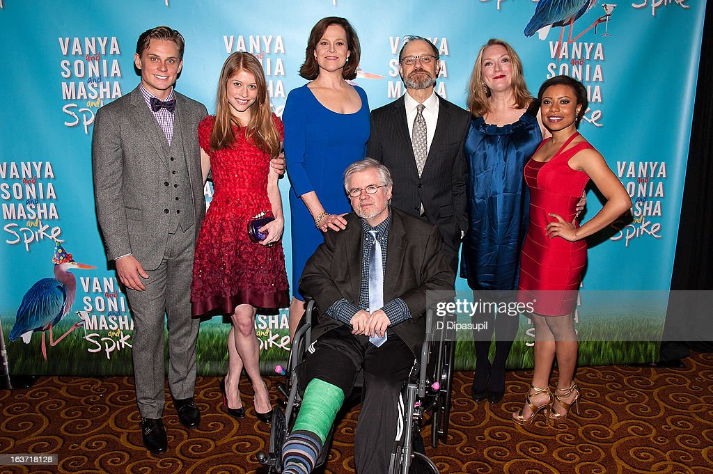 Billy Magnussen, Genevieve Angelson, Sigourney Weaver, playwright Christopher Durang, David Hyde Pierce, Kristine Nielsen, and Shalita Grant attend the 'Vanya And Sonia And Masha And Spike' Broadway Opening Night After Party at Gotham Hall on March 14, 2013 in New York City.