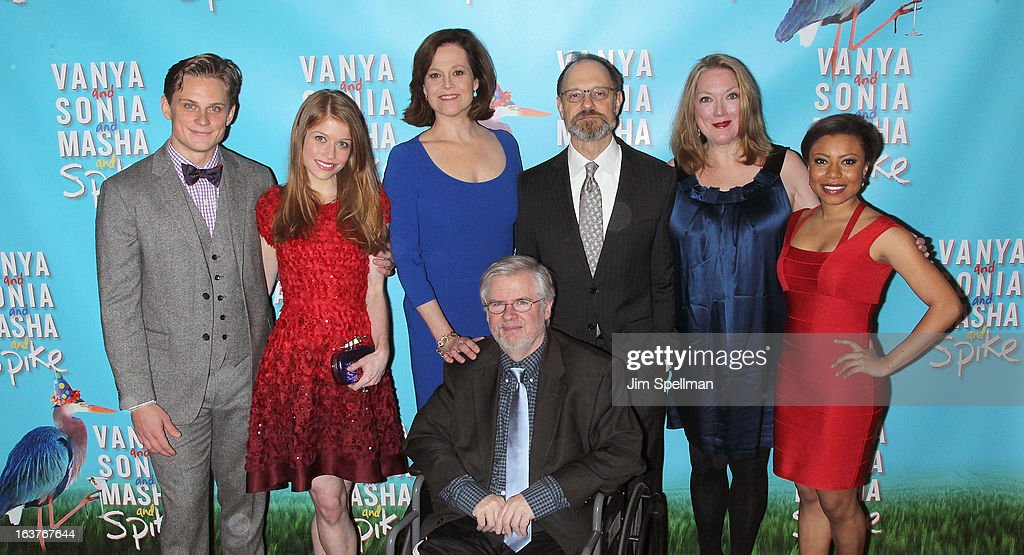 Billy Magnussen, Genevieve Angelson, Sigourney Weaver, playwright Christopher Durang, David Hyde Pierce, Kristine Nielsen, and Shalita Grant attend the after party for 'Vanya And Sonia And Masha And Spike' Broadway opening night at Gotham Hall on March 14, 2013 in New York City.