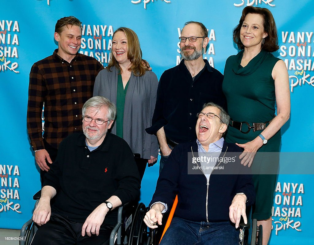 Billy Magnussen, Kristine Nielsen, David Hyde Pierce, Sigourney Weaver pose behind playwright Christopher Durang (L) and Director Nicholas Martin at the 'Vanya And Sonia And Masha And Spike' Broadway Press Preview at The New 42nd Street Studios on February 28, 2013 in New York City.