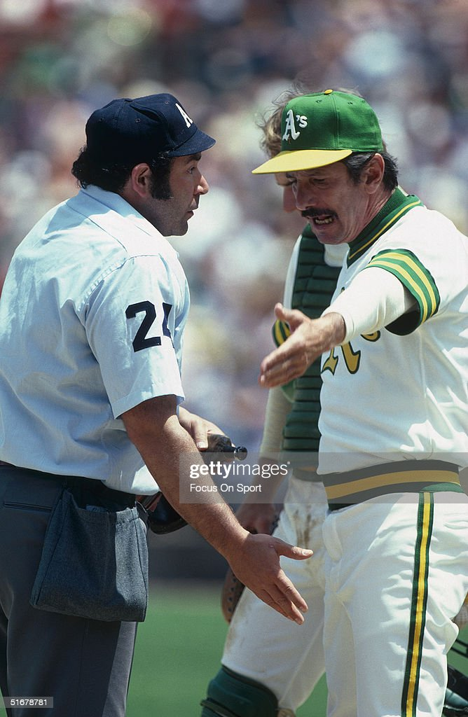 Billy Martin manager for the Oakland Athletics argues with umpire Al Clark during a break in the action.