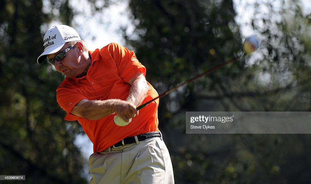Billy Mayfair hits his drive on the sixth hole during the second round of the WinCo Foods Portland Open at the Pumpkin Ridge Golf Club on August 22...