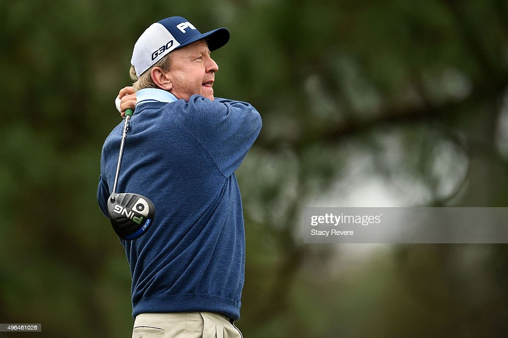 Billy Mayfair hits his tee shot on the ninth hole during the final round of the Sanderson Farms Championship on November 9 2015 in Jackson Mississippi